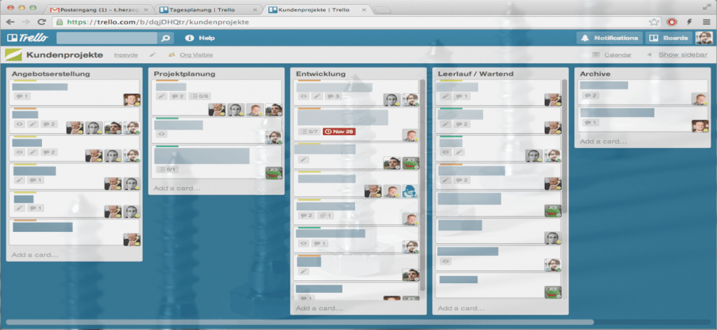 Teamarbeit in Trello